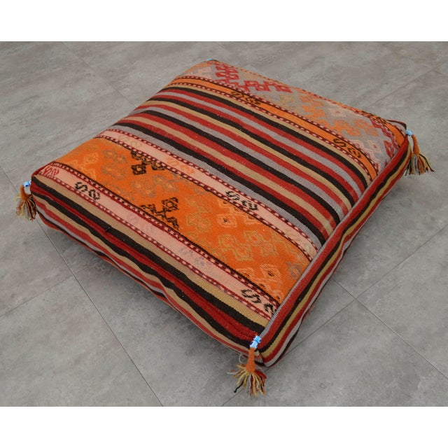 Turkish Hand Woven Floor Cushion Cover - 29″ X 29″ For Sale - Image 5 of 10