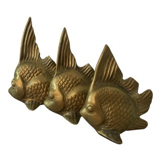 Trio of Vintage Brass Fish Figurines For Sale