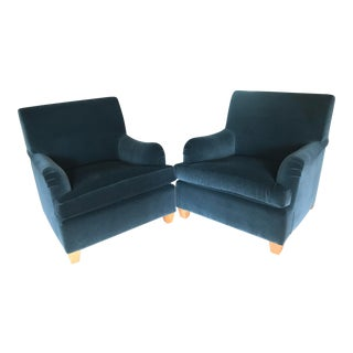 Traditional Rogers and Goffigan Mohair Club Chairs - a Pair For Sale