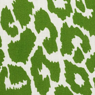 Schumacher Iconic Leopard Indoor/Outdoor Fabric in Green For Sale