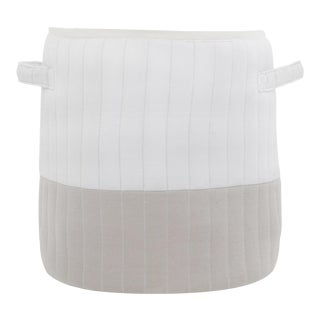 """Organic Cotton Mod Quilted Storage Basket White/Gray 