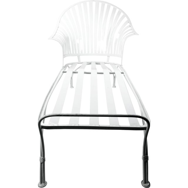 Francois Carre Francois Carre Vintage Fan Back Patio Chaise Lounge For Sale - Image 4 of 11