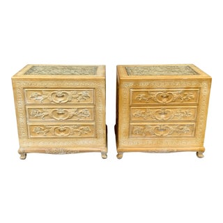 Vintage Hand Carved Asian Nightstands - a Pair For Sale