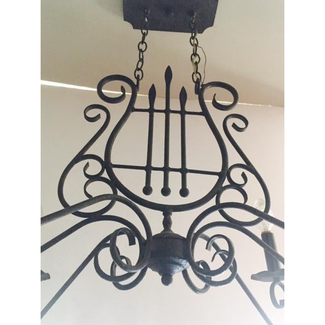 Mediterranean-Style Metal Harp Chandelier For Sale - Image 5 of 6
