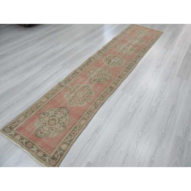 Vintage Worn Out Turkish Oushak Runner Rug - 2′5″ × 11′2″ - Image 5 of 6