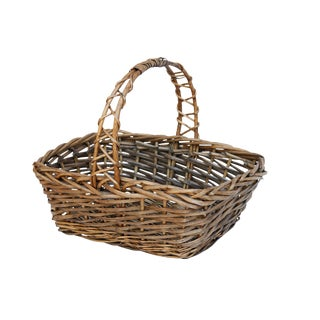 Vintage French Wicker Shopping Basket For Sale