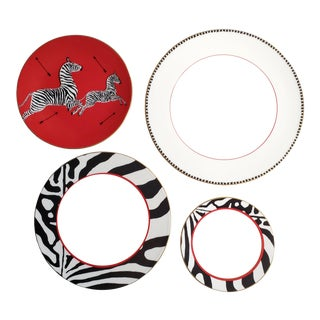 Scalamandre Zebra Dinner Plates, Luncheon Plates, Salad Plates and Bread Plates - Set of 4