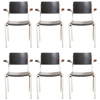 Set of Six Industrial Stacking Armchairs by W. Gispen for Riemersma, 1950s For Sale