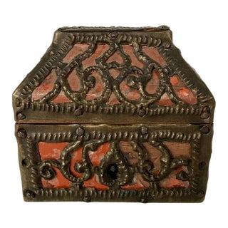 Russian Miniature Pierced Brass and Mica Box For Sale