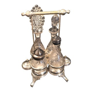 Vintage Wilcox Silver Plate Holiday Cruet Set - 5 Pieces For Sale