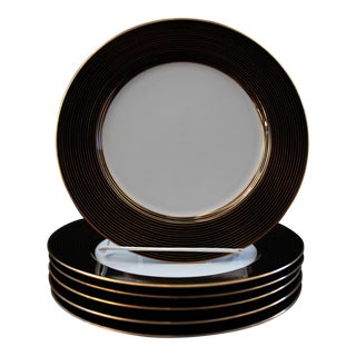 Rondelle Black Salad Plates by Fitz & Floyd - Set of Six For Sale