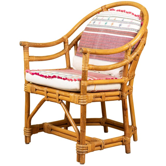 Vintage Rattan Chair With Injiri Cushions For Sale