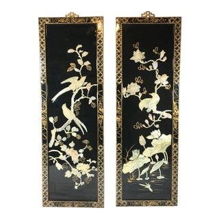 Mid-Century Japanese Mother of Pearl Bird Panels - a Pair For Sale
