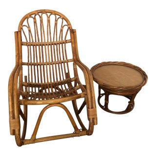 Vintage Franco Albini Style MCM Rattan Bamboo Rocking Chair & Ottoman For Sale