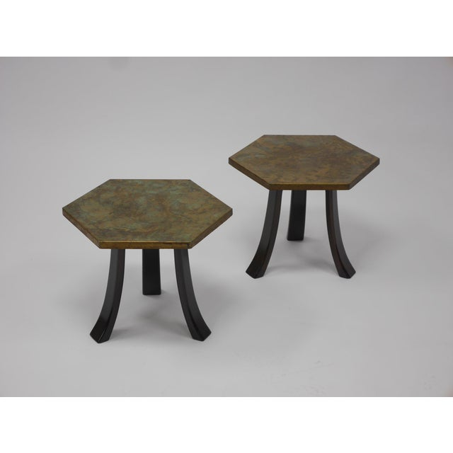 1950s Pair of Harvey Probber Acid-Etched Bronze Tables For Sale - Image 5 of 11