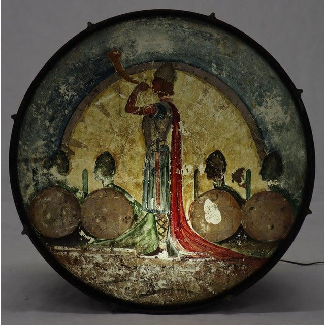 Folk Art Large Drum Light Fixture Painted and Converted Floor Lamp For Sale - Image 3 of 12