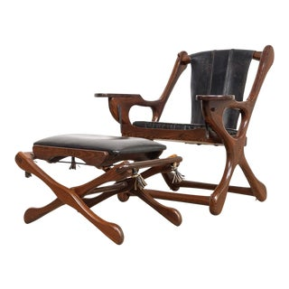 Mid Century Mexican Modern Don Shoemaker Swinger Chair With Ottoman