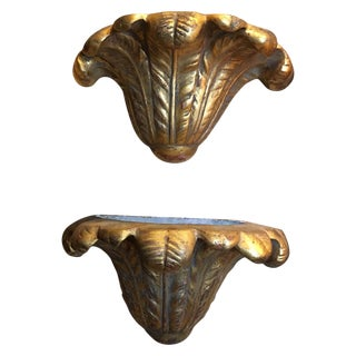 Pair of Gold Leaf Plaster Wall Sconces, Mid-20th Century For Sale