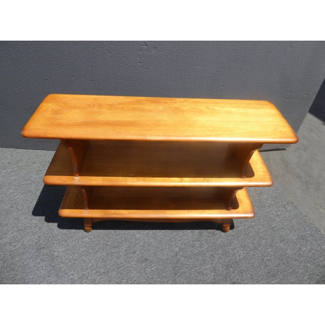 Vintage Mid-Century Modern 3 Tier Maple Bookcase For Sale - Image 9 of 11