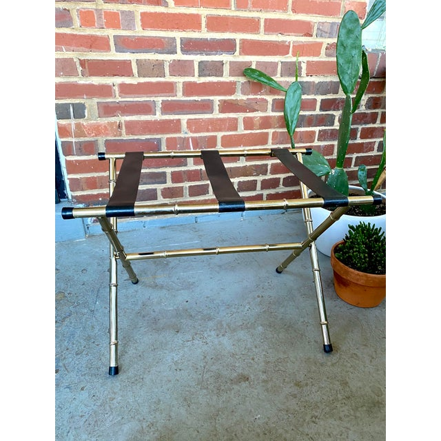 1970s Mid-Century Faux Bamboo Brass Luggage Rack. For Sale - Image 10 of 11