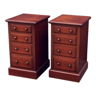 English Mahogany Nightstands - a Pair For Sale