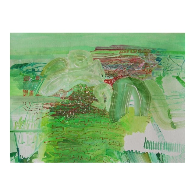 """Josette Urso """"Light Play"""" Abstract Green Watercolor Painting on Paper For Sale"""