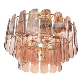 Vintage Mid-Century Modern Modern Blush Pink Glass Gold 15 Light Chandelier For Sale