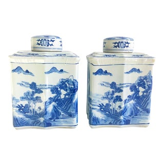 Blue & White Chinoiserie Scalloped Ginger Jars - a Pair