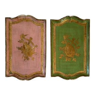 Vintage Pr Florentine Pink, Green, Gilt Wall Decor or Trays For Sale