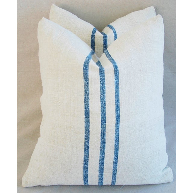 French Grain Sack Down & Feather Pillows - Pair - Image 2 of 11