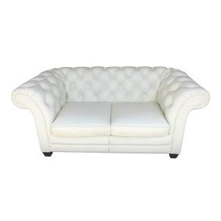 Modern Lazzaro Chesterfield White Loveseat For Sale