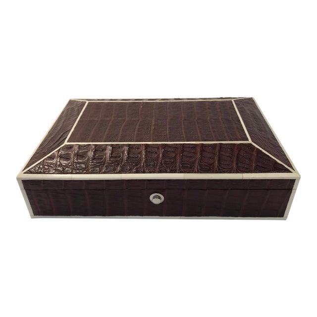 Bone Inlay Brown Crocodile Box For Sale