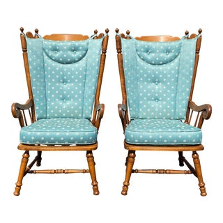 Rock Maple High Back Upholstered Armchairs - a Pair For Sale