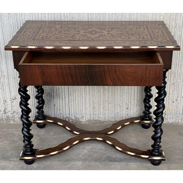 About 18th Century William and Mary Marquetry One Drawer Side Table with turned ebonized legs & stretcher A beautiful...