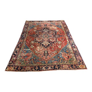 "Antique Distressed Persian Heriz - 9'2""x13' For Sale"