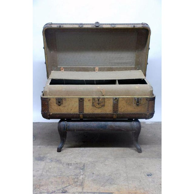 Early 20th Century Indestructo Trunk on Industrial Stand For Sale In Los Angeles - Image 6 of 8