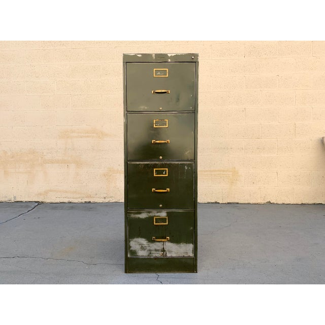 1940s industrial era file cabinet by Steel Furniture Mfg. Co. Larger and deeper than most of its kind, this piece is sure...