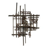 Image of 1960's Geometric Abstract Metal Wall Sculpture For Sale