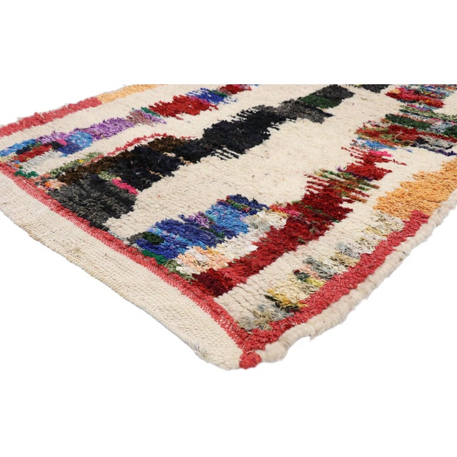 21072 Vintage Berber Boucherouite Moroccan Azilal Rug with Contemporary Abstract Expressionist Style 03'09 x 07'03....