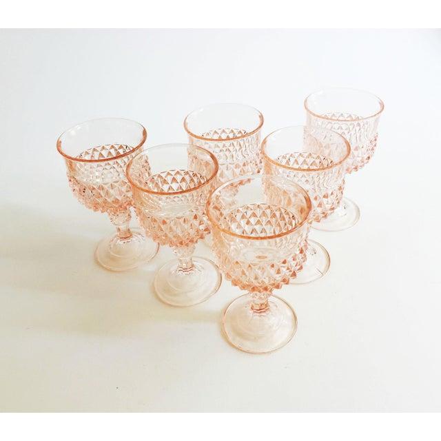 Art Deco Vintage Blush Pink Wine Glasses - Set of 6 For Sale - Image 3 of 5