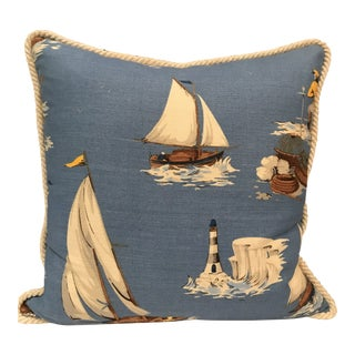 Nautical Scalamandre Breezy Point Blue Linen Print Pillow #3 For Sale