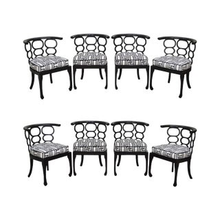 Hollywood Regency Style Black Curved Back Dining Chairs - Set of 8