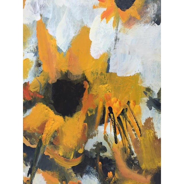 White Vintage Original Elva Levy Framed & Signed Sunflower Painting For Sale - Image 8 of 11