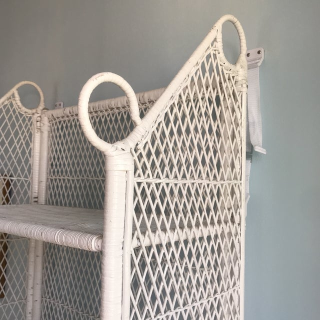 1970s Shabby Chic Victorian White Wicker 5-Shelf Wall Unit For Sale - Image 12 of 13