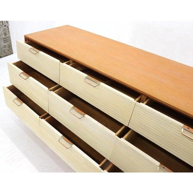 Mengel Furniture Co. Two Tone Nine Drawer Cerused Oak Long Dresser Credenza by Mengel For Sale - Image 4 of 13
