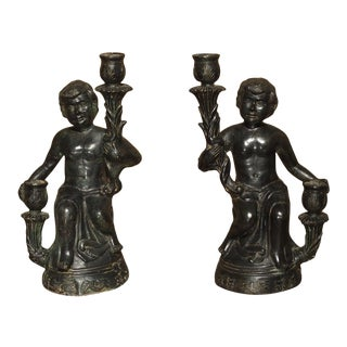 Pair of Antique Patinated Bronze Figural Candlestick Holders From Italy, Circa 1850 For Sale