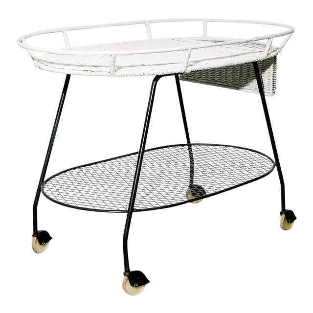 Vintage Wicker and Steel Bar Cart by Salterini For Sale