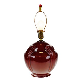 Art Deco Oxblood Reverse Painted Glass Table Lamp For Sale