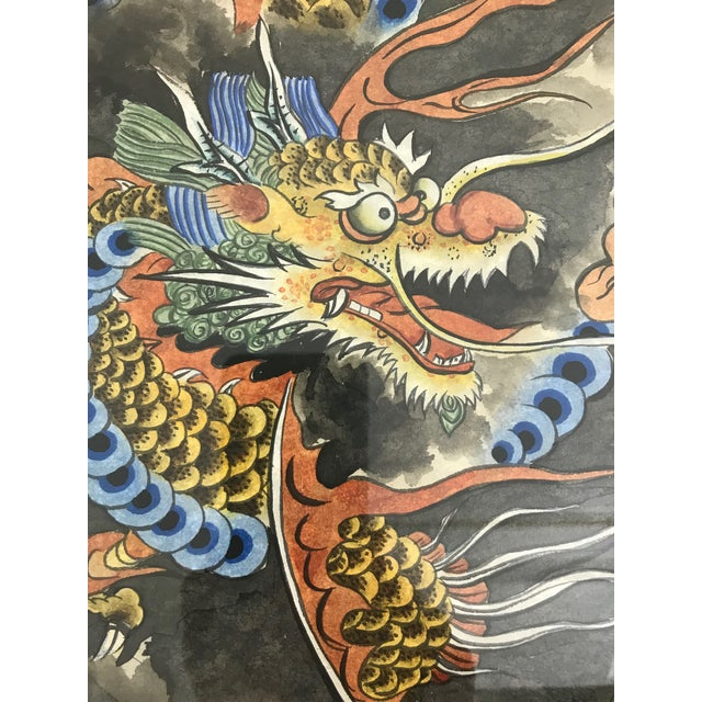 Asian Vintage 'Flying Dragon in Storm Clouds' Water Colour Painting For Sale - Image 3 of 8