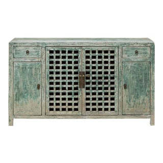 Vintage Chinese Ming Style Distressed Elm Wood Cabinet For Sale